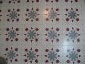 Detalle del mosaico hidraulico colocado